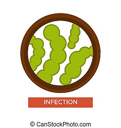 Infection microbes and germs magnifying glass microscopic harmful organisms