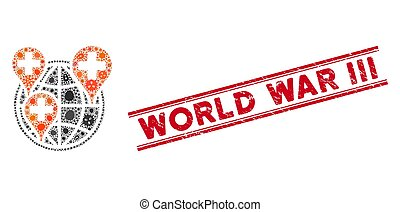 Infection Mosaic Global Clinic Company Icon and Distress World War Iii Stamp with Lines
