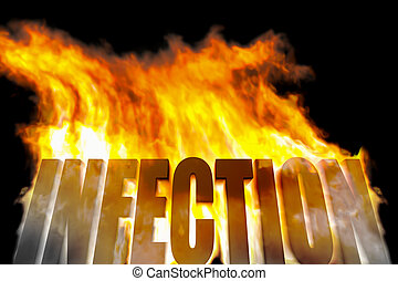 infection - An image of a burning word infection