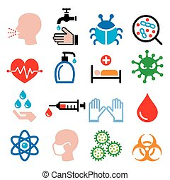 Infection, virus, sickness, getting flu - health icons set