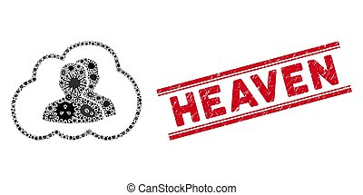 Infectious Collage Cloud Community Icon and Textured Heaven Seal with Lines