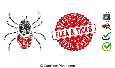 Infectious Collage Mite Tick Icon with Scratched Round Flea & Ticks Stamp