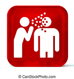 Infectious Disease - Glass button icon with white health...