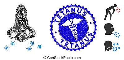 Infectious Mosaic Flu Sikness Icon with Medicine Distress Tetanus Stamp