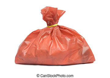 infectious wastes in red bag isolated on white background