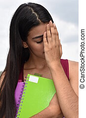 infeliz, estudiante femenino