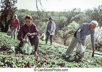 Volunteers cleaning up forest after inferior people -...