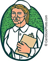 infermiera, appunti tiene, ovale, woodcut, linocut