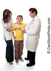 infermiera, assistere, paziente, dottore