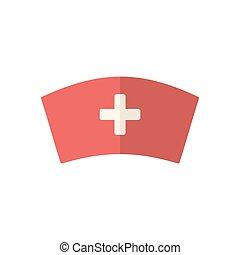 infermiera, berretto, icona