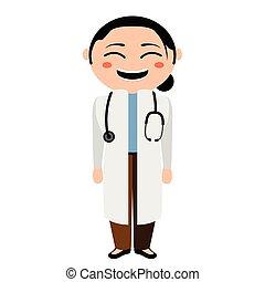 infermiera, carattere, asiatico, cartone animato