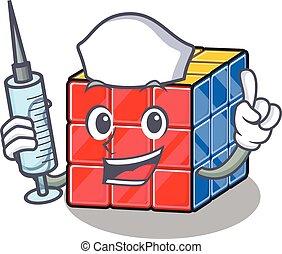 infermiera, cubo, siringa, carattere, ospitale, rubic