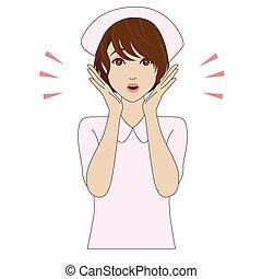 infermiera, giovane, sorpreso, uniforme