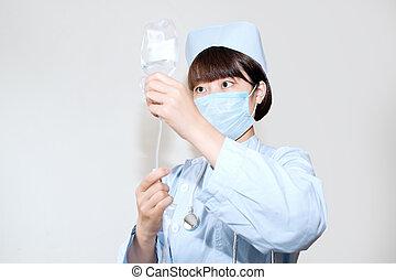 infermiera, operazione, infusione, bottiglia