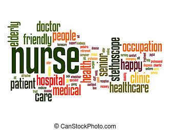 infermiera, parola, nuvola
