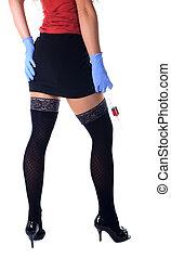 infermiera, siringa, grande, sexy