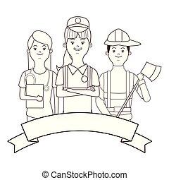 infermiera, venditore, pompiere