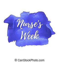infermiera, week., vacanza, celebrazione, scheda, manifesto, logotipo, iscrizione, parole, testo, scritto, su, viola, blu, dipinto, fondo, vettore, illustration.