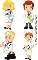 infermiere, set, cartone animato, collezione, dottori