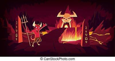 infernal, cartone animato, caverna, paesaggio, pietra, ...