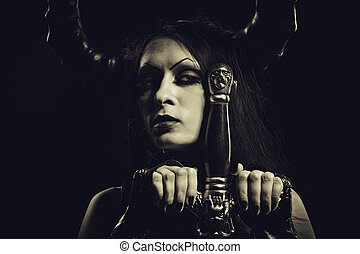 Infernal warrior - Beautiful horned lady with sword
