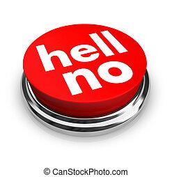 inferno, botão, -, vermelho, não
