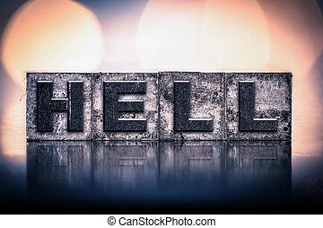 inferno, concetto, tipo, letterpress, vendemmia