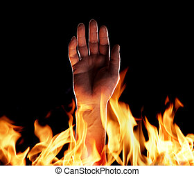 Inferno - Hand sticking up from flames.