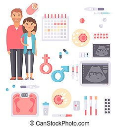 Infertility pregnancy problems medical maternity vector signs treatment fertilization processes infographic tools
