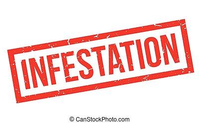 Infestation rubber stamp on white. Print, impress,...