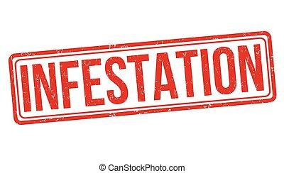 infestation, timbre, signe, ou
