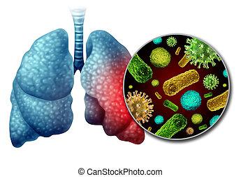infezione, pneumonia, anatomia