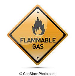 infiammabile, avvertimento, gas, segno pericolo