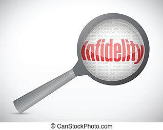 infidelidade, mensagem, procurar, ilustração