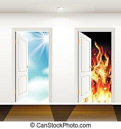 infierno, cielo, puertas