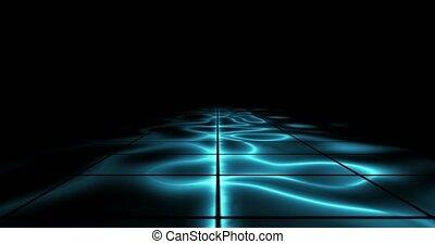 infini, éclairé, espace, bleu, résumé, piste