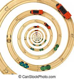 infini, train, rails, droste