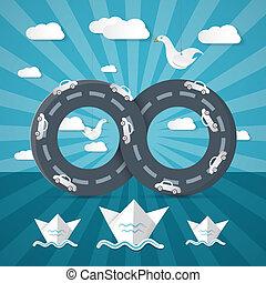 infinidade, carros, papel, oceânicos, origami, barcos, nuvens, estrada