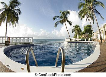 infinidade, flutuador, caraíbas, piscina, mar