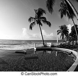 infinidade, &, pretas, branca, nicarágua, piscina, natação