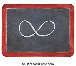infinidade, símbolo, ligado, quadro-negro