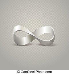 infinità, argento, segno, su, trasparente, fondo