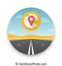 infinità, illustrazione, autostrada, fondo., vettore, deserto, strada