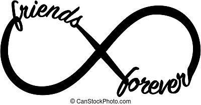 infinità, segno, con, amici, sempre