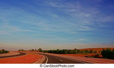 infinité, asphalte, dunes, mouvement, sans bornes, long, route