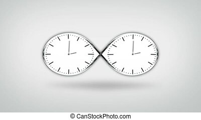 infinité, blanc, horloge, fond