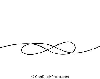 infinité, dessin, symbole., continu, ligne, icône