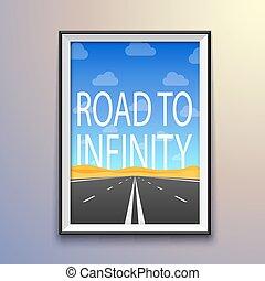 infinité, porte-photo, mur, highway., route