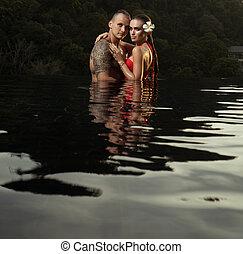 infinité, romantique coupler, seul, piscine, natation