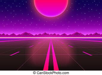 infinité, route, sunset.